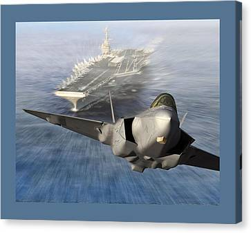 F-35 Catapult Launch From Us Super Carrier Canvas Print by L Brown