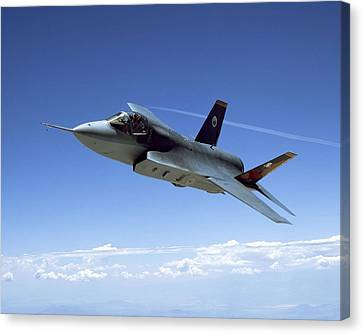F 35 Joint Strike Fighter Amber Indigo Red Fins Enhanced Canvas Print by US Military - L Brown