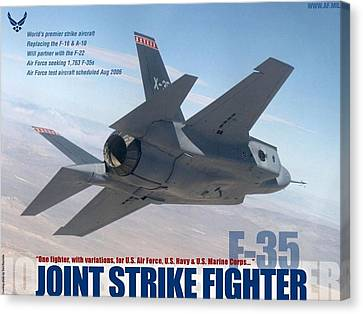 Lockheed Martin F-35 Joint Strike Fighter Lightening II With Text Canvas Print by L Brown