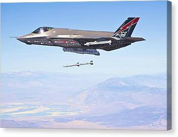 Lockheed Martin F-35 Launching Missile Enhanced Canvas Print by US Military - L Brown