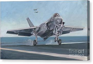 Canvas Print featuring the painting F-35c Carrier Landing by Stephen Roberson