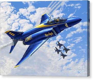 F-4 Phantoms In Blue Canvas Print by Stu Shepherd