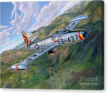 F-84 Thunderjet Over Korea Canvas Print by Stu Shepherd