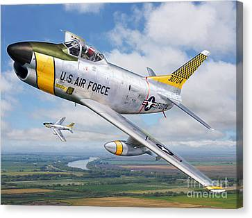 F-86l Of The 82nd Fis Canvas Print by Stu Shepherd