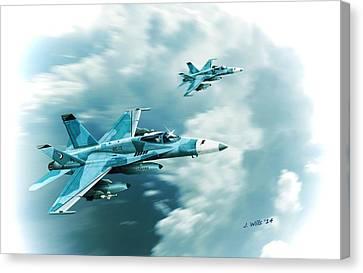 F A 18c Hornet Fighting Omars Vfc12 Canvas Print by John Wills
