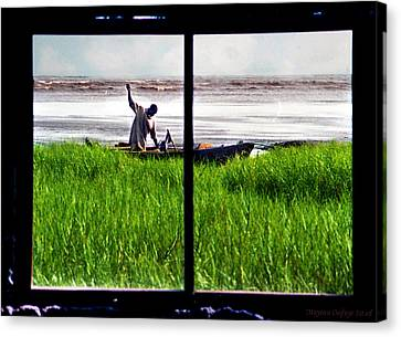 Fisherman Window Framed Canvas Print