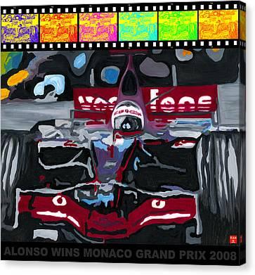 Canadian Grand Prix Canvas Print - F1 Alonso Wins Monaco 2008 Pop 2 by Ran Andrews