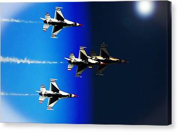 F16 Flight Into Space Canvas Print by DigiArt Diaries by Vicky B Fuller