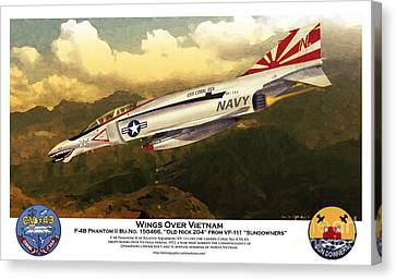 Canvas Print featuring the drawing F4-phantom Wings Over Vietnam by Kenneth De Tore