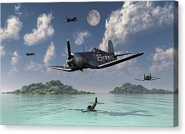 F4u Corsairs Flying Over A Shot Canvas Print