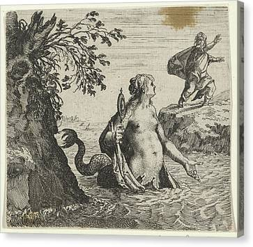 Fable Of The Mermaid, Aegidius Sadeler Canvas Print by Quint Lox