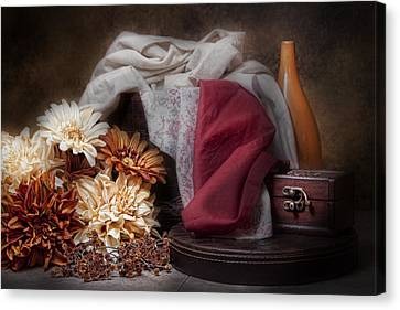 Fabric And Flowers Still Life Canvas Print