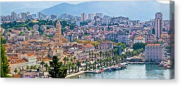 Fabulous Split Waterfront Aerial Panorama Canvas Print by Brch Photography