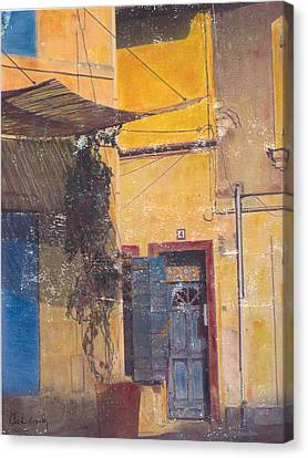 Canvas Print featuring the mixed media Facade by Carla Woody