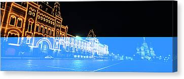 Facade Of A Building Lit Up At Night Canvas Print