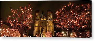 Facade Of A Church, Grace Cathedral Canvas Print