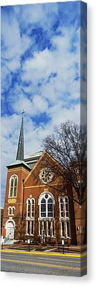 Facade Of A Church, River City Church Canvas Print by Panoramic Images