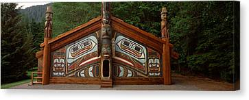Facade Of A Clan House, Totem Bight Canvas Print by Panoramic Images