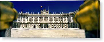 Facade Of A Palace, Madrid Royal Canvas Print by Panoramic Images