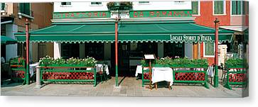 Facade Of A Restaurant, Burano, Venice Canvas Print by Panoramic Images
