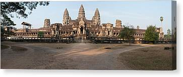 Facade Of A Temple, Angkor Wat, Angkor Canvas Print