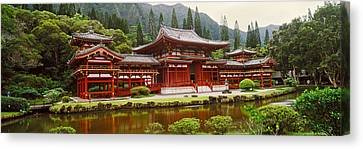 Facade Of Byodo-in Temple, Valley Of Canvas Print by Panoramic Images