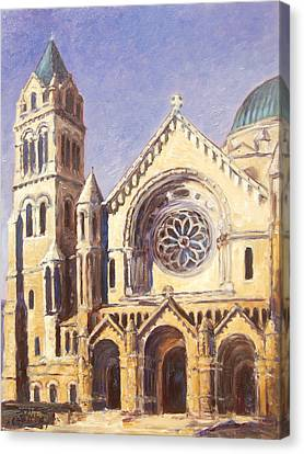 Facade Of Cathedral Basilica In St.louis Canvas Print by Irek Szelag