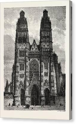 Facade Of The Metropolitan Church Of Tours Canvas Print by Litz Collection
