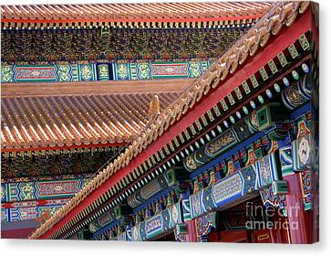 Facade Painting Inside The Forbidden City In Beijing Canvas Print by Julia Hiebaum