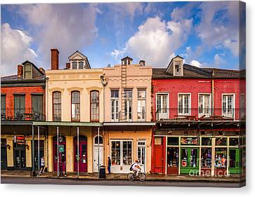 Facades Of Houses In The French Quarter Vieux Carre - New Orleans Louisiana Canvas Print by Silvio Ligutti