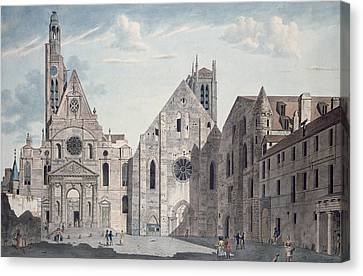 Facades Of The Churches Of St Genevieve And St Etienne Du Mont Canvas Print by Angelo Garbizza