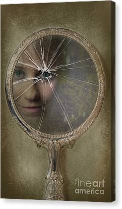 Face In Broken Mirror Canvas Print by Amanda Elwell