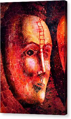 Wooden Bowl Canvas Print - Face In The Dark by Tommytechno Sweden