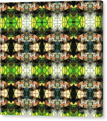 Canvas Print featuring the photograph Face In The Stained Glass Tiled by Clayton Bruster