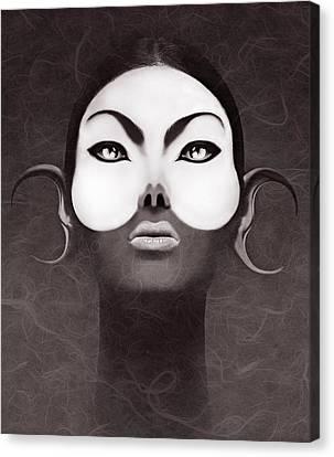 Face Moon Canvas Print by Yosi Cupano