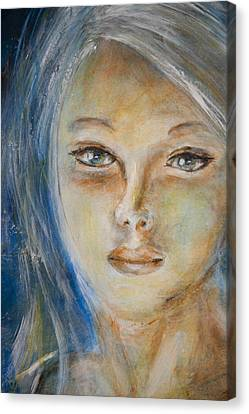 Canvas Print featuring the painting Face Of An Angel by Nik Helbig
