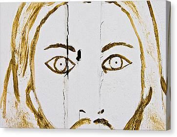 Face Of Jesus Fairview Cemetery Midland Texas 2010 Canvas Print by John Hanou