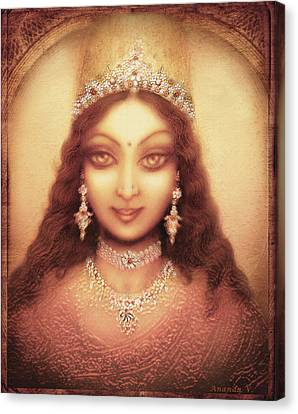 Face Of The Goddess Durga  Canvas Print by Ananda Vdovic