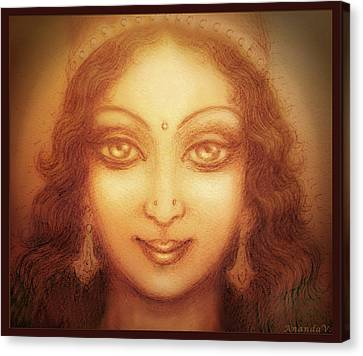 Canvas Print featuring the mixed media Face Of The Goddess/ Durga Face by Ananda Vdovic