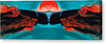 Face To Face - Abstract Art By Sharon Cummings Canvas Print by Sharon Cummings