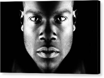 Face With Dramatic Lighting Canvas Print by Val Black Russian Tourchin