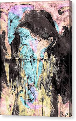 Faceless Girl With Her Crow Canvas Print by Linda Sannuti