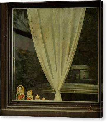 Canvas Print featuring the photograph Faces In The Window by Sally Banfill