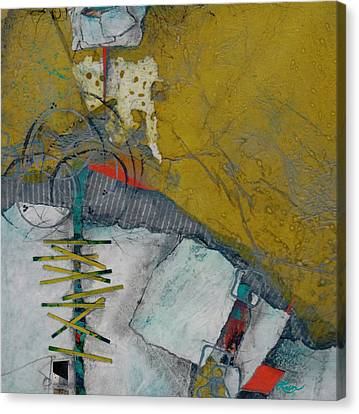 Red Green And Gold Abstracts Canvas Print - Facing A Fear by Laura  Lein-Svencner
