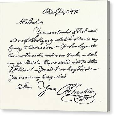 Benjamin Franklin Canvas Print - Facsimile Of A Letter From Benjamin Franklin To Mr by English School