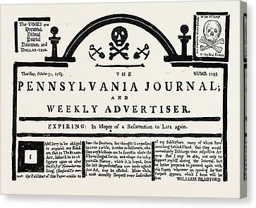 Facsimile Of The  Pennsylvania Journal  On The Stamp Act Canvas Print by English School