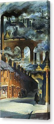 Factory Chimneys Canvas Print by Andrew Howat