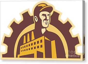 Factory Worker Building Gear Cog Retro Canvas Print by Aloysius Patrimonio