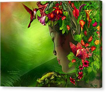 Fairy Canvas Print - Fae In The Flower Hat by Carol Cavalaris