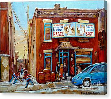 Montreal Winter Scenes Canvas Print - Fairmount Bagel In Winter Montreal City Scene by Carole Spandau